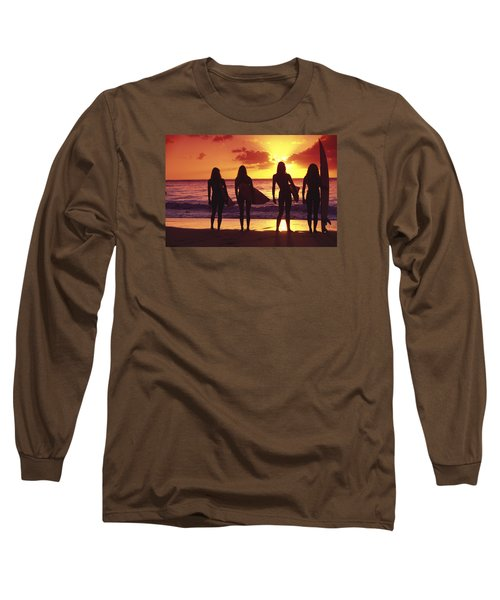 Surfer Girl Silhouettes Long Sleeve T-Shirt