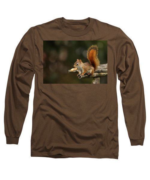 Long Sleeve T-Shirt featuring the photograph Surprised Red Squirrel With Nut Portrait by Debbie Oppermann