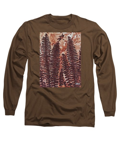 Sword Fern Fossil Long Sleeve T-Shirt by Katherine Young-Beck