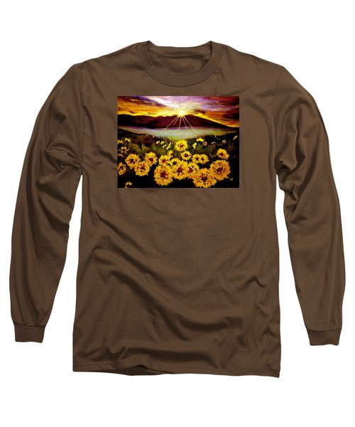 Long Sleeve T-Shirt featuring the painting Symphony Of The Sun.. by Cristina Mihailescu
