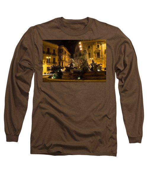 Long Sleeve T-Shirt featuring the photograph Syracuse - Diana Fountain  by Georgia Mizuleva