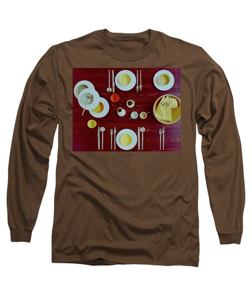 Tableware Set On A Wooden Table Long Sleeve T-Shirt