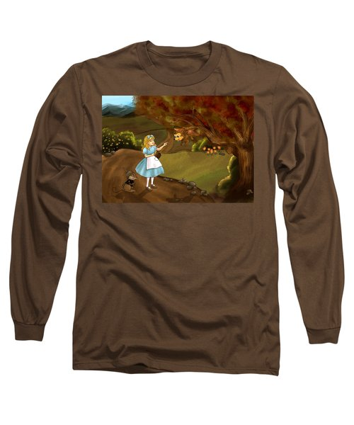 Long Sleeve T-Shirt featuring the painting Tammy Meets Zeke The Opossum by Reynold Jay