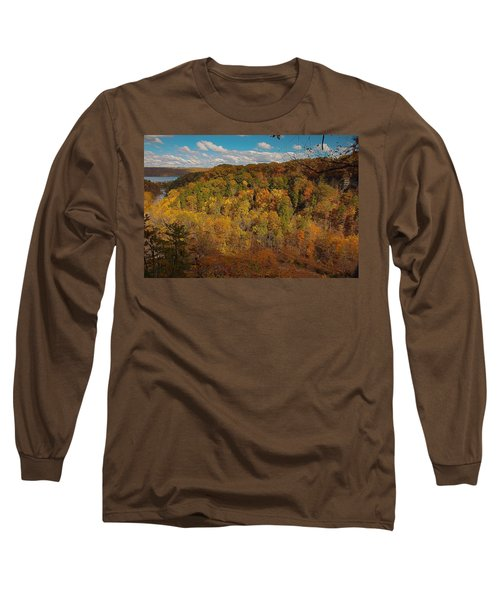 Long Sleeve T-Shirt featuring the photograph Taughannock River Canyon In Colorful Fall Ithaca New York II by Paul Ge
