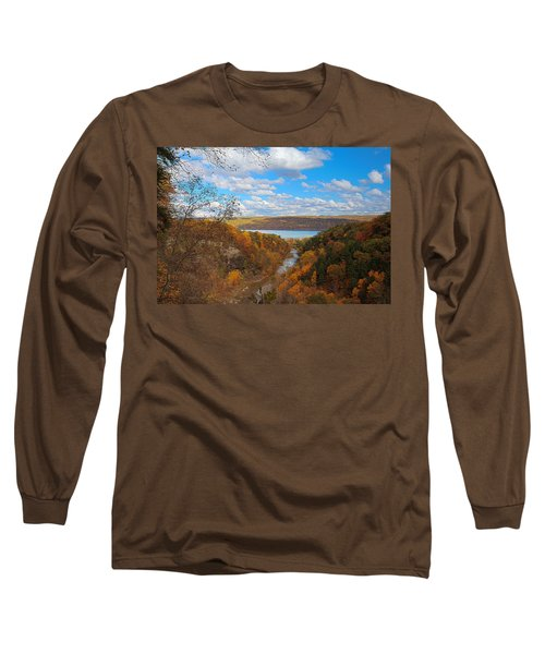 Long Sleeve T-Shirt featuring the painting Taughannock River Canyon In Colorful Fall Ithaca New York Iv by Paul Ge