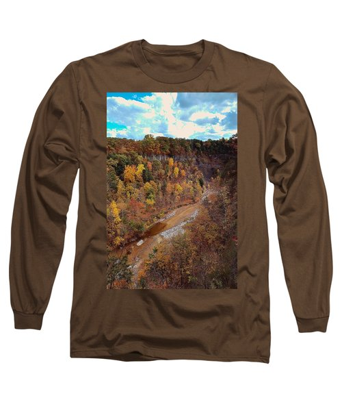 Long Sleeve T-Shirt featuring the painting Taughannock River Canyon In Colorful Fall Ithaca New York V by Paul Ge