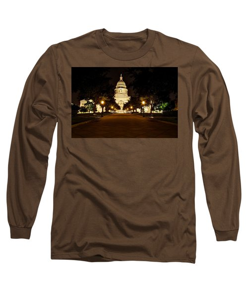 Long Sleeve T-Shirt featuring the photograph Texas Capitol At Night by Dave Files