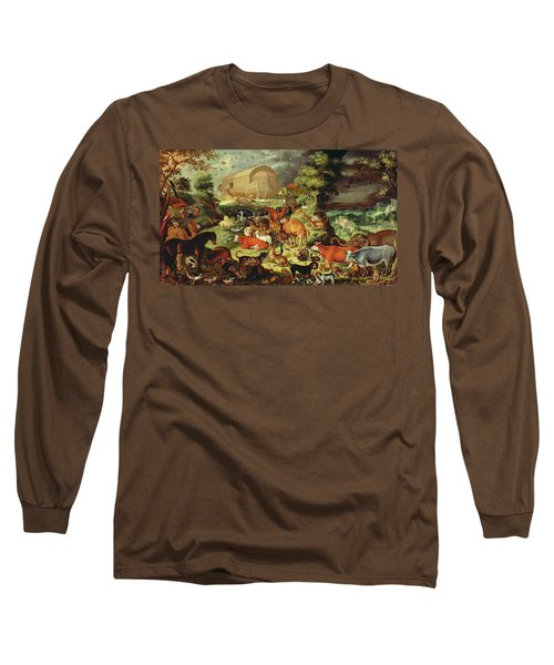 The Animals Entering The Ark Long Sleeve T-Shirt by Jacob II Savery