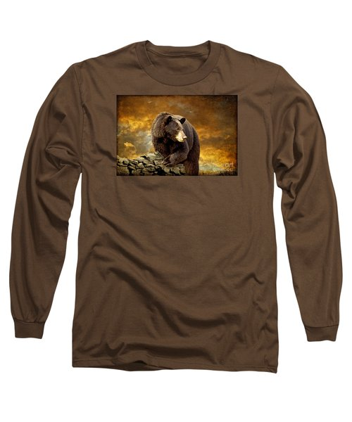 The Bear Went Over The Mountain Long Sleeve T-Shirt by Lois Bryan
