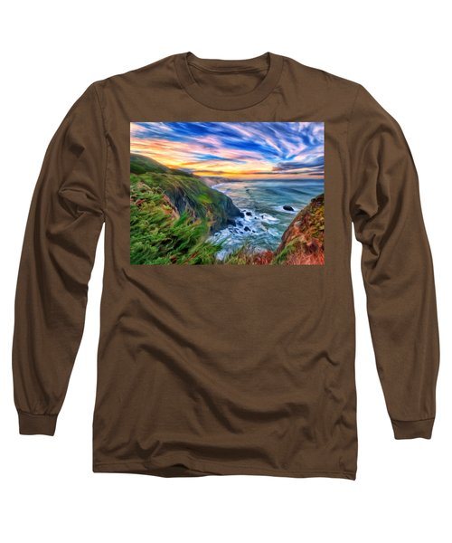 Long Sleeve T-Shirt featuring the painting The Beauty Of Big Sur by Michael Pickett