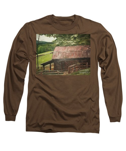 Long Sleeve T-Shirt featuring the painting The Cherrys Barn by Jan Dappen