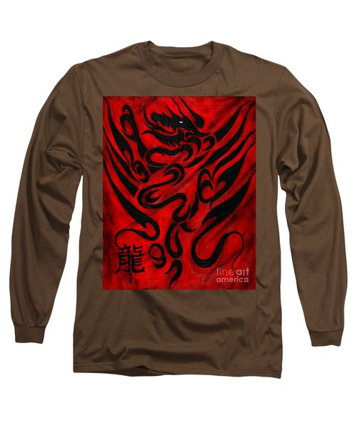 Long Sleeve T-Shirt featuring the painting The Dragon by Roz Abellera Art