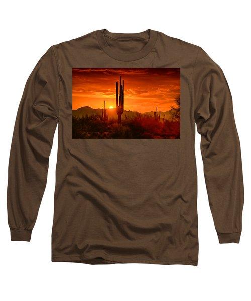 The Golden Southwest Skies  Long Sleeve T-Shirt by Saija  Lehtonen