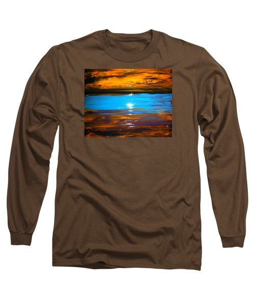 Long Sleeve T-Shirt featuring the painting The Golden Sunset by Kicking Bear  Productions