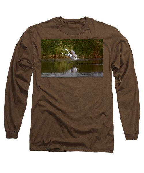 Long Sleeve T-Shirt featuring the photograph The Great Egret by Leticia Latocki
