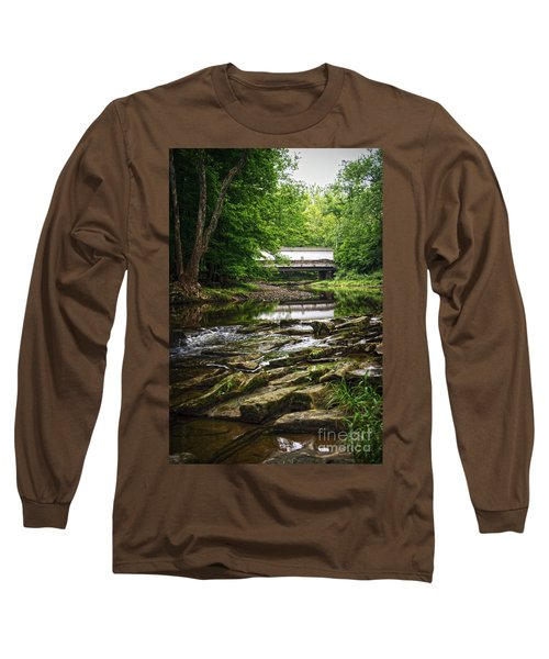 Long Sleeve T-Shirt featuring the photograph The Green Sergeants Covered Bridge II by Debra Fedchin