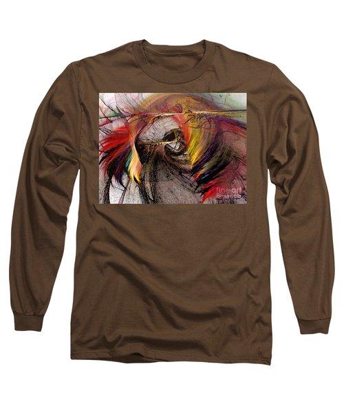 The Huntress-abstract Art Long Sleeve T-Shirt by Karin Kuhlmann