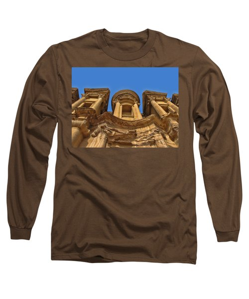 Long Sleeve T-Shirt featuring the photograph The Monastery In Petra by David Gleeson