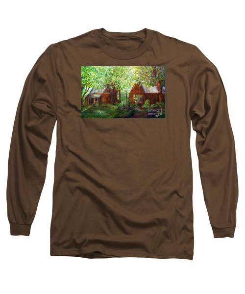 Long Sleeve T-Shirt featuring the painting The Old Swing Between The House And The Barn by Eloise Schneider