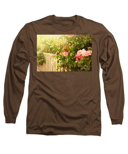 The Scent Of Roses And A White Fence Long Sleeve T-Shirt
