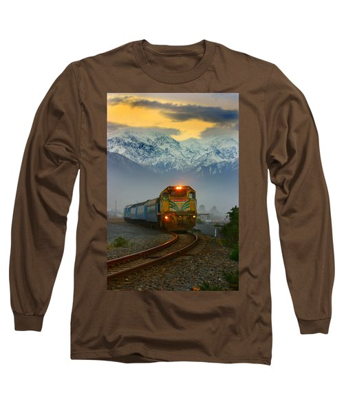 The Southerner Train New Zealand Long Sleeve T-Shirt by Amanda Stadther