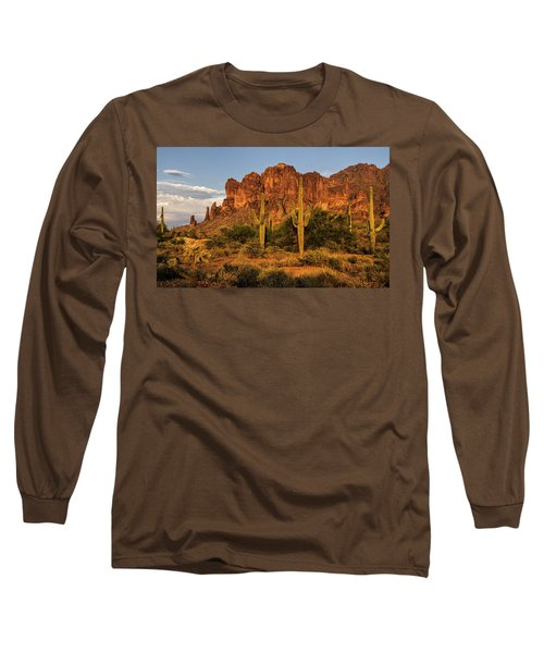 The Superstitions At Sunset  Long Sleeve T-Shirt by Saija  Lehtonen