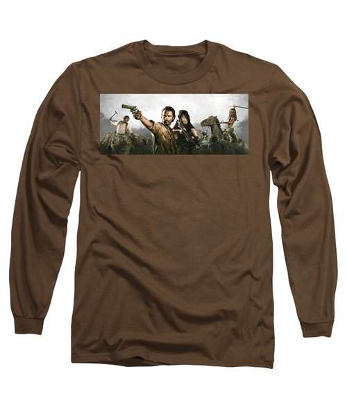 Long Sleeve T-Shirt featuring the painting The Walking Dead Artwork 1 by Sheraz A