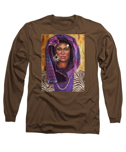Long Sleeve T-Shirt featuring the painting The Whole Story Behind Violet by Alga Washington
