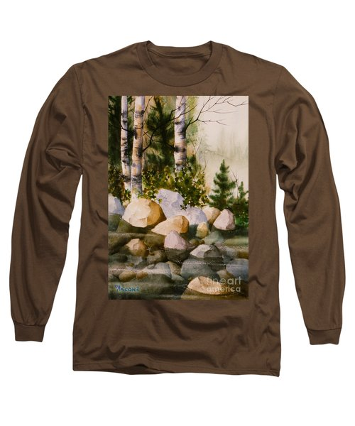 Three Birch By Rocky Stream Long Sleeve T-Shirt by Teresa Ascone