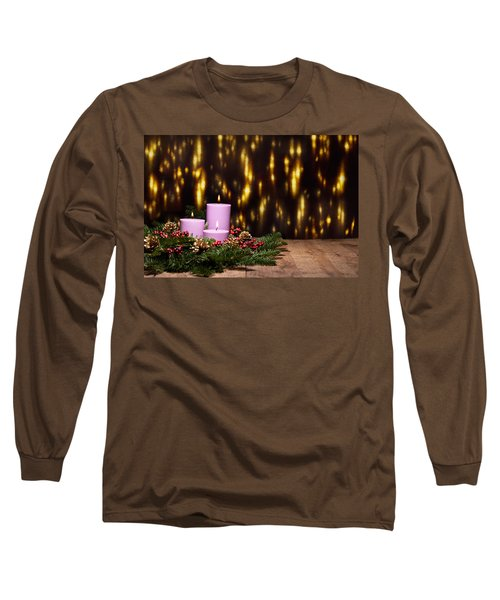 Three Candles In An Advent Flower Arrangement Long Sleeve T-Shirt by Ulrich Schade