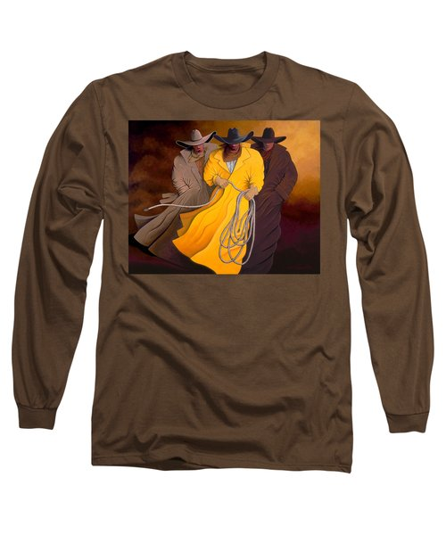 Long Sleeve T-Shirt featuring the painting Three Cowboys by Lance Headlee