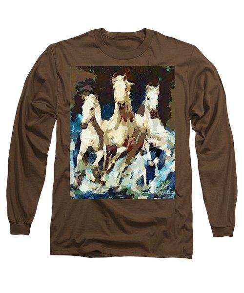 Three Lipizzans Long Sleeve T-Shirt by Dragica  Micki Fortuna