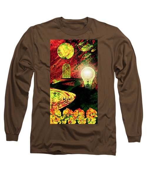 Long Sleeve T-Shirt featuring the mixed media To The Light by Ally  White
