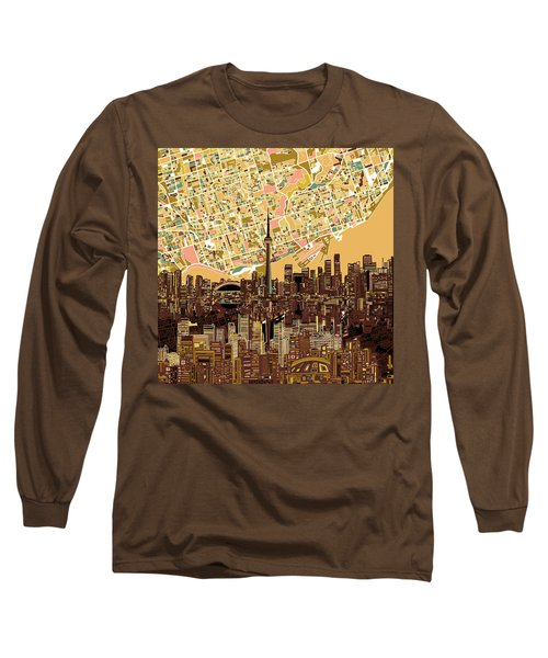 Toronto Skyline Abstract 9 Long Sleeve T-Shirt