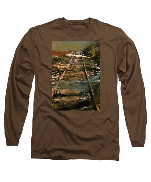 Train Track To Hell Long Sleeve T-Shirt by RC deWinter