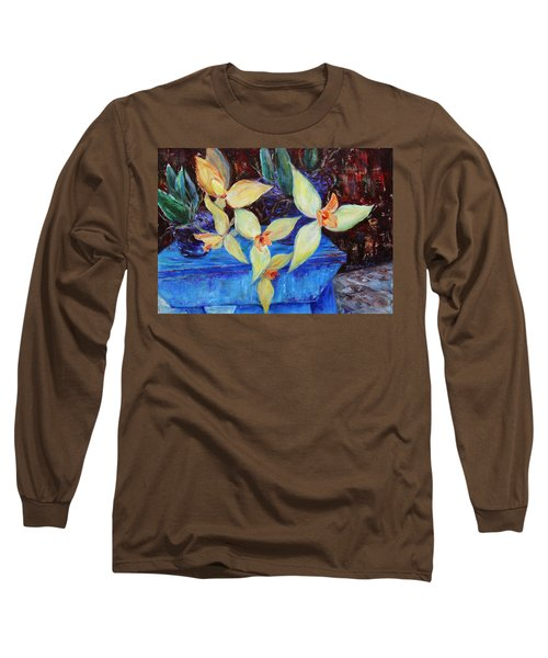 Long Sleeve T-Shirt featuring the painting Triangular Blossom by Xueling Zou
