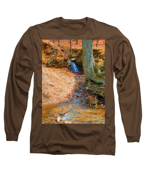 Trickling Waterfall By Shellhammer Long Sleeve T-Shirt