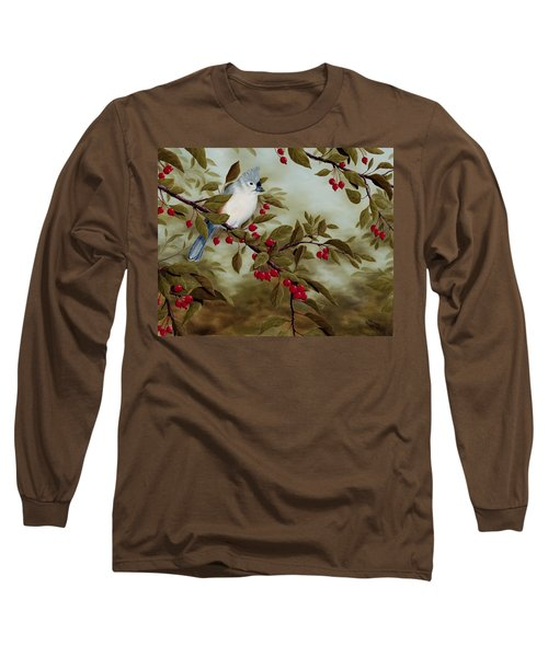 Tufted Titmouse Long Sleeve T-Shirt by Rick Bainbridge