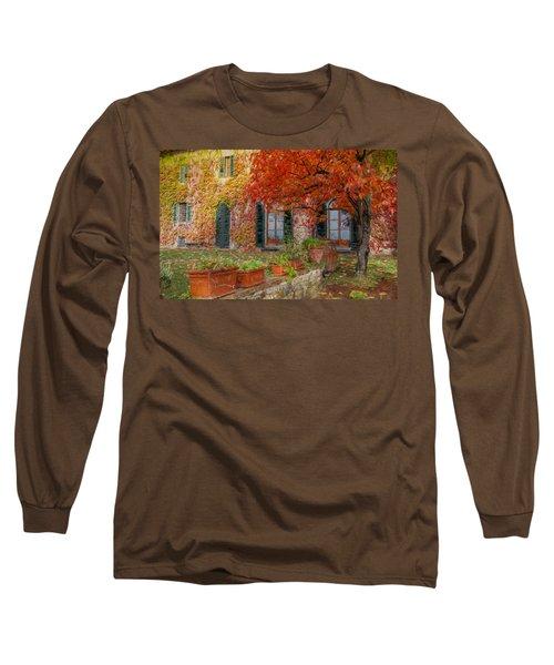 Tuscan Villa In Autumn Long Sleeve T-Shirt