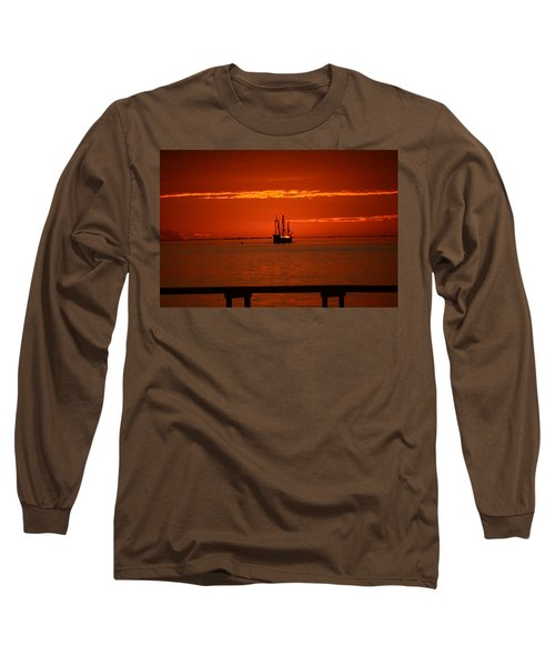 Long Sleeve T-Shirt featuring the photograph Two 3-masted Schooners Sail Off Into The Santa Rosa Sound Sunset by Jeff at JSJ Photography