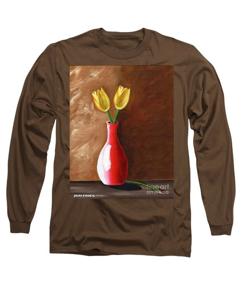 Two Tulips And A Pink Rose Long Sleeve T-Shirt by Laura Forde