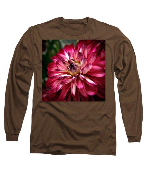 Dahlia Unfolding Long Sleeve T-Shirt by Athena Mckinzie