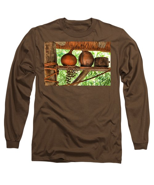Long Sleeve T-Shirt featuring the photograph Up On A Shelf by Jan Amiss Photography