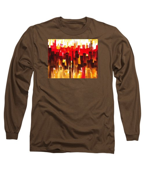 Urban Abstract Glowing City Long Sleeve T-Shirt by Irina Sztukowski