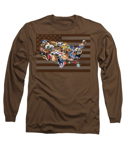 Usa Nfl Map Collage 2 Long Sleeve T-Shirt