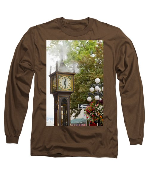 Long Sleeve T-Shirt featuring the photograph Vancouver Bc Historic Gastown Steam Clock by JPLDesigns