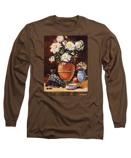 Long Sleeve T-Shirt featuring the painting Vase Of Flowers And Fruit by Al Brown