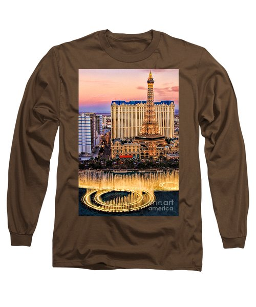 Long Sleeve T-Shirt featuring the photograph Vegas Water Show by Tammy Espino