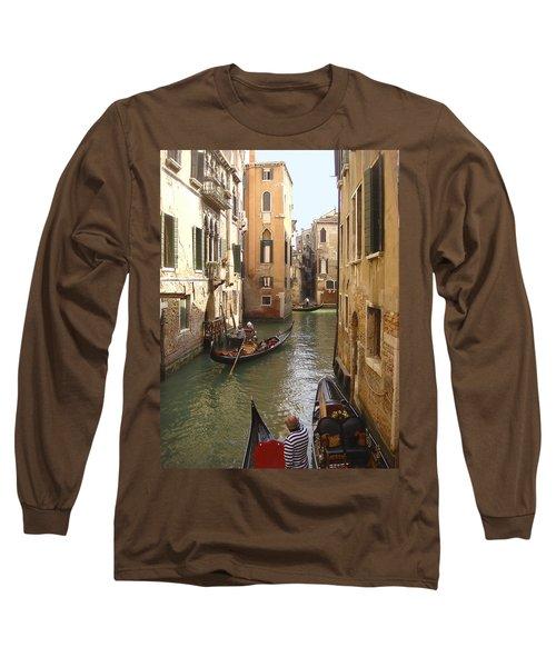 Long Sleeve T-Shirt featuring the photograph Venice Gondolas by Karen Zuk Rosenblatt