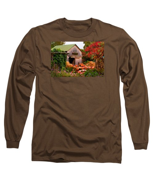 Long Sleeve T-Shirt featuring the photograph Vermont Pumpkins And Autumn Flowers by Jeff Folger